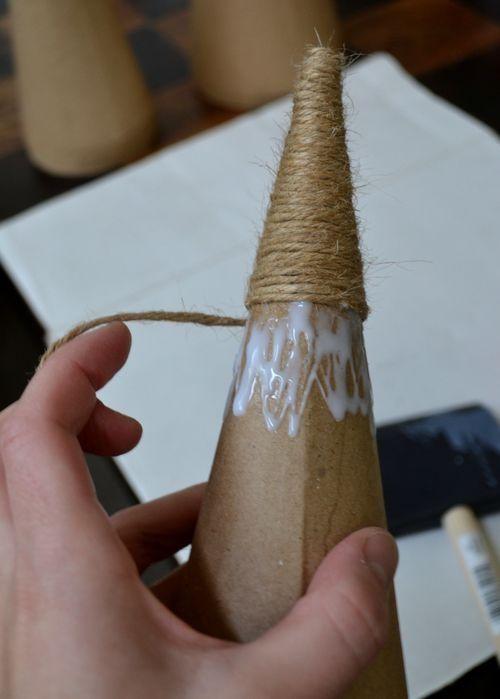 DIY jute wrapped cone Christmas trees!
