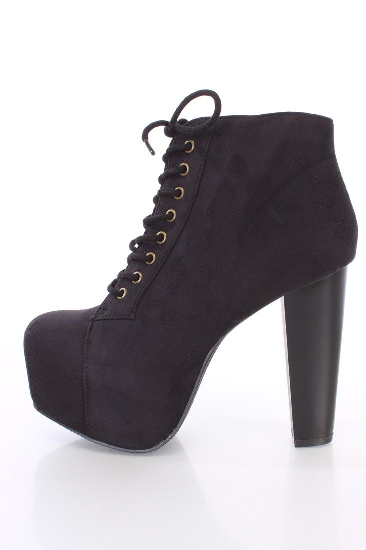 Black Lace Up Heel Booties - Is Heel