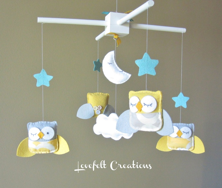 Baby Mobile  Yellow and Gray Owl Baby