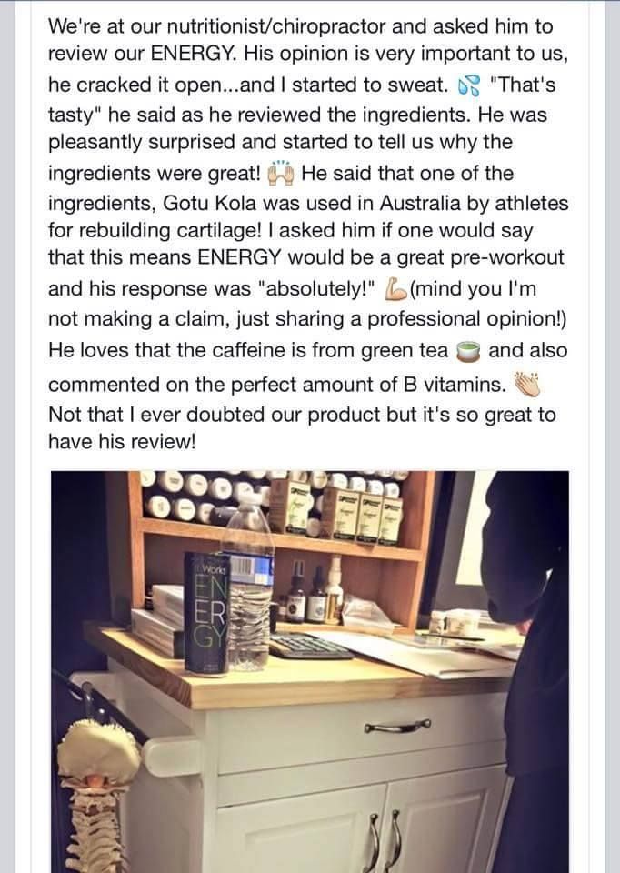 A fellow It Works distributor got this review on our new #Energy drink & just wanted to share! It's a professionals opinion on how awesome it is! #energy #energydrink #love #amazing #itworksadventure #itworks