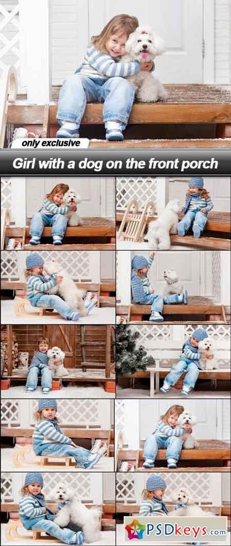 Girl with a dog on the front porch - 10 UHQ JPEG