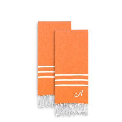 Linum Home Textiles Alara Personalized Turkish Pestemal 2 Piece Towel Set Color: Soft Aqua, Letter: T