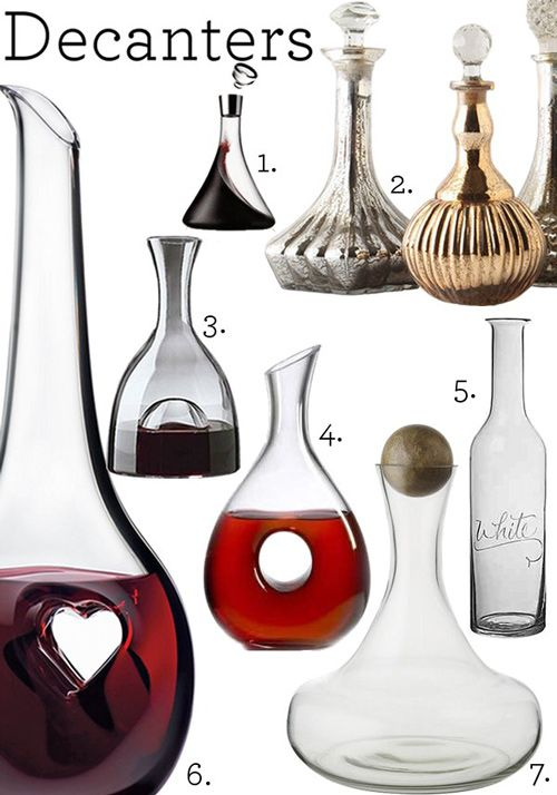 1. Menu Wine Decanter, $80; 2. Decanters, $48–58; 3. Visual Wine Decanter, $49.99; 4. Ravenscroft Crystal Omega Carafe, $53.99; 5. Letter Wine Carafe, $48; 6. Riedel Black Tie Bliss Wine Decanter, $166.95; 7. Glass Bottles with Wood Stoppers, $29–$39