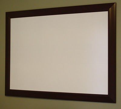 DIY Whiteboard - we did this today in the office and it looks fantastic. So easy and a lot less expensive then trying to buy a large white board.