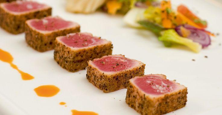 Halstrad tonfisk med rostade grönsaker #tonfisk #halstrad