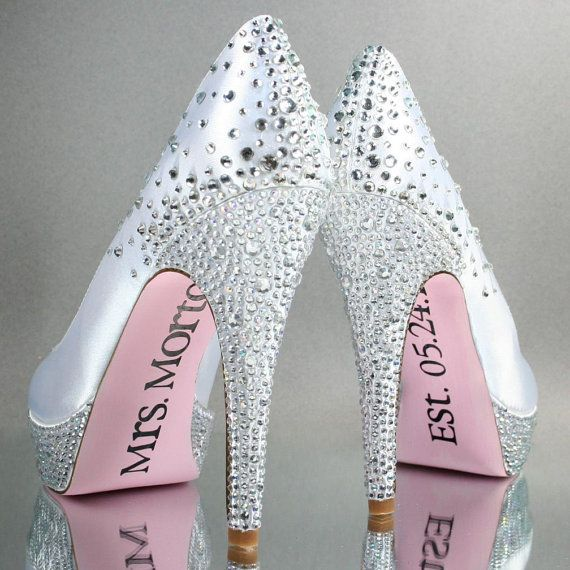 Wedding Shoes -- White Platform Wedding Shoes with Rhinestone Details, Painted Sole and Save the Date Decals