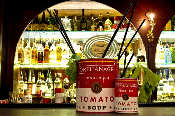 Orphanage Dirty Mary cocktails served in a parody of Campbell's Soup Tins so beloved of the late, great Mr Warhol