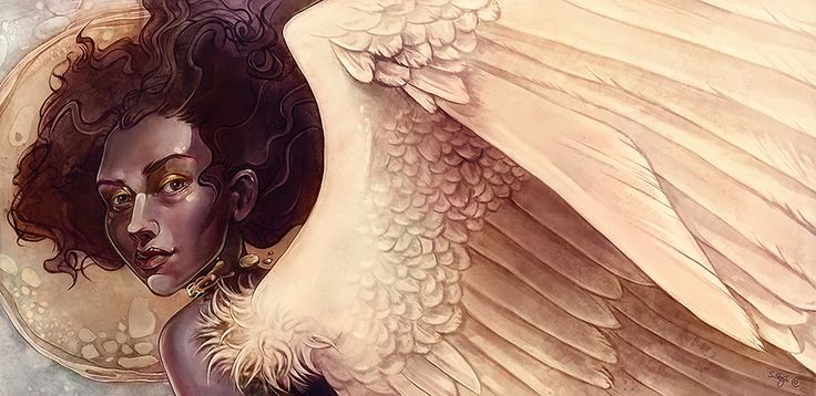 Golden angel painting made by: Sylvia Strijk
