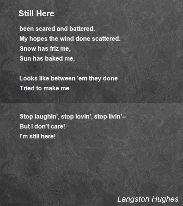 Still Here Poem by Langston Hughes - Poem Hunter