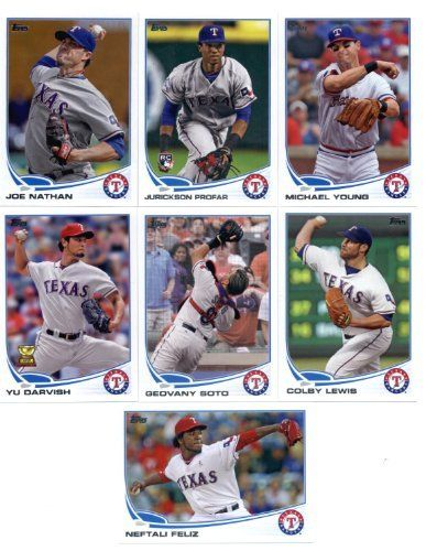 2013 Topps Texas Rangers Team Set (Series 1 - 12 cards) - Mike Olt Rookie, Jurickson Profar Rookie, Yu Darvish, Neftali Feliz, Mitch Moreland, Scott Feldman, Mark Loew, Adrian Beltre, Joe Nathan, Michael Young, Geovany Soto, and Colby Lewis by Topps. $9.95. 2013 Topps Texas Rangers Team Set (Series 1 - 12 cards) - Mike Olt Rookie, Jurickson Profar Rookie, Yu Darvish, Neftali Feliz, Mitch Moreland, Scott Feldman, Mark Loew, Adrian Beltre, Joe Nathan, Michael You...