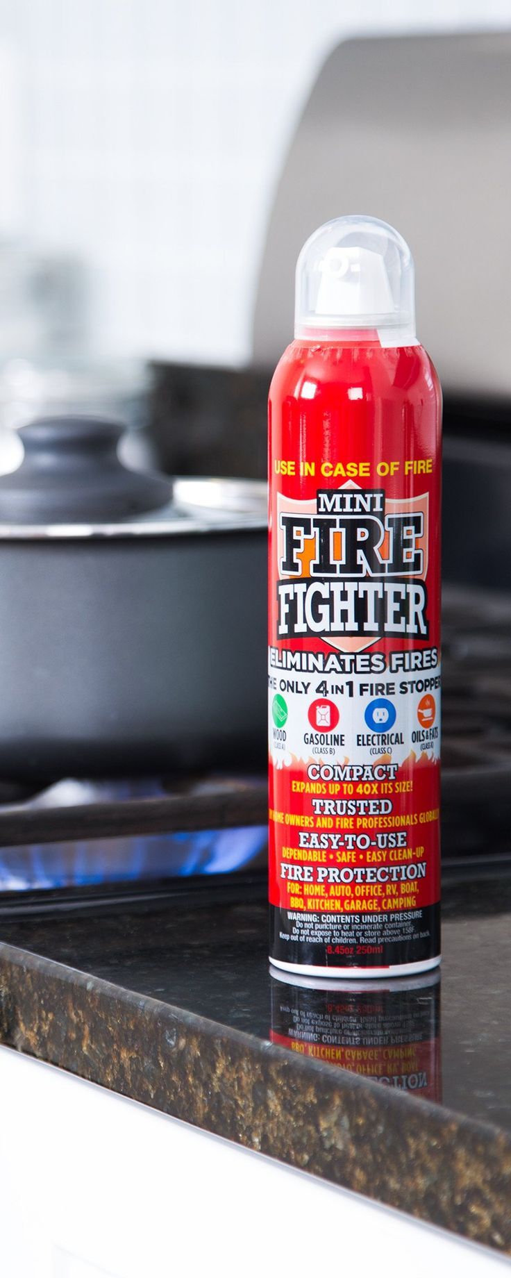 This compact, reusable extinguisher, discovered by The Grommet, is as simple as a spray can. The foam it releases is biodegradeable and easy to clean, too.