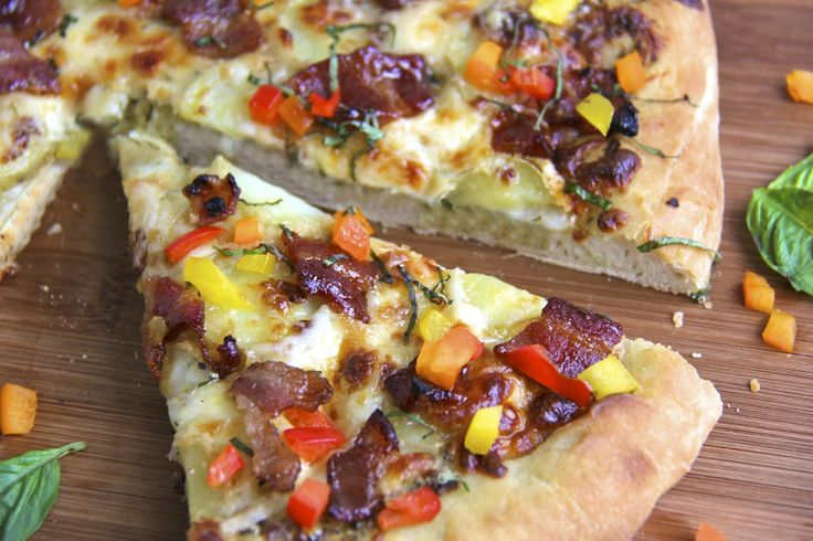 Pesto & Potato Pizza w/ Candied Applewood Bacon and Sweet Bell Pepper