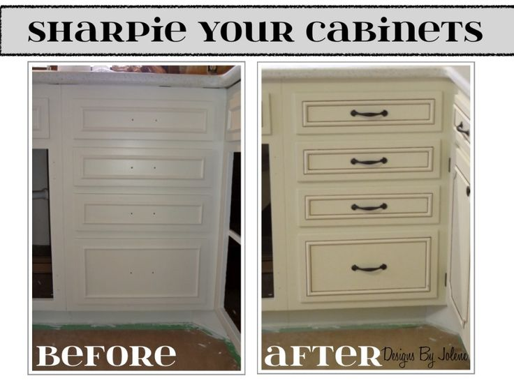 Sharpie Your Cabinets- kitchen remodel on a budget.  Designs By Jolene