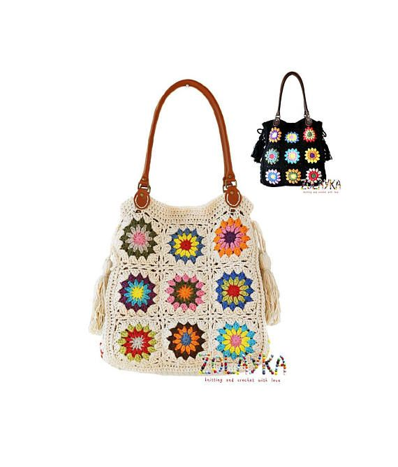 d1194bd2f92e Handmade crochet shoulder bag in floral granny squares motives in different  colors on black beige background. Extra roomy with four inner slip pockets  and ...