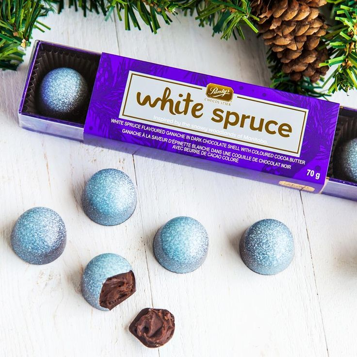 Purdys white spruce chocolate  FIRST TASTE GIVEAWAY* Get a first taste of our new White Spruce chocolate. Dark chocolate ganache, icy fresh peppermint, and the flavour of white spruce inside a dark chocolate shell. To enter, like this post and let us know which of your friends loves trying new