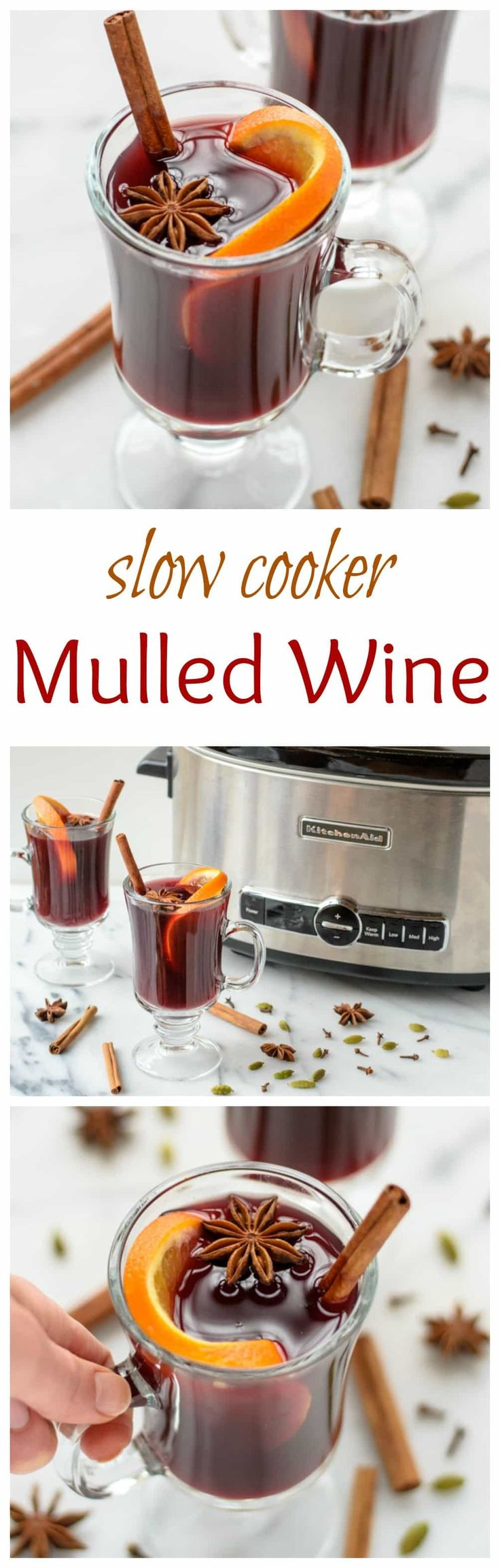 Slow cooker spiced wine(mulled wine) - an easy holiday cocktail recipe, made with red wine, apple cider, citrus, and warm spices. The delicious warm drink recipe is perfect at holiday parties.