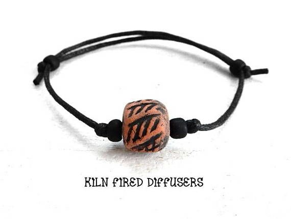 Black Boho Unisex Diffuser Bracelet Essential Oil Aromatherapy