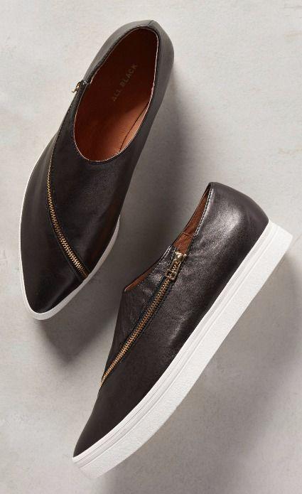 All Black Slanted Zip Sneakers #anthroregistry
