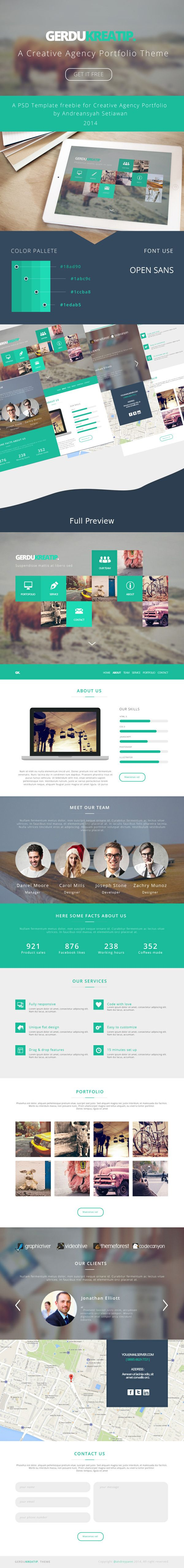 Nice Agency Portfolio Theme Template PSD. A flat style retina-ready website template designed by Andreansyah Setiawan. The PSD file is fully-editable so you can easily change colors fonts and styles according to your needs. Have fun with it and don't forget to spread the word! #flat #freepsd #freebie #freemium #graphicburger #page #premium #resource #single #template Check more at http://psdfinder.com/free-psd/agency-portfolio-theme-template-psd
