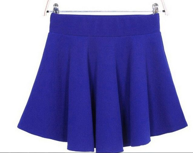 Candy Color Stretch Skater Flared Pleated Mini Skirt