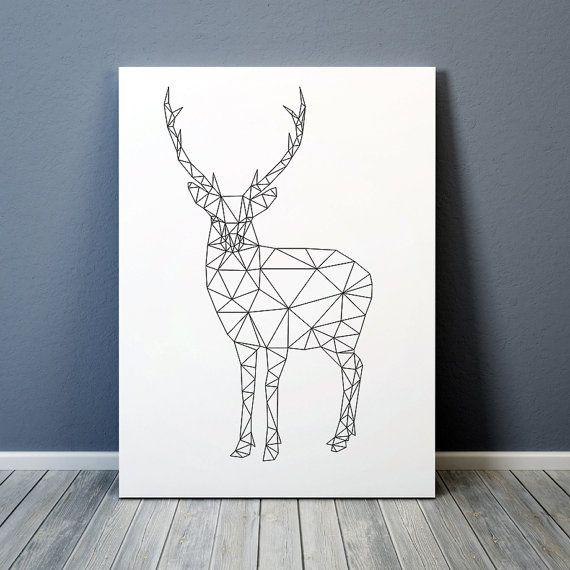 dreieck dekor geometrische hirsch drucken tier von animalgeometry diy pinterest. Black Bedroom Furniture Sets. Home Design Ideas