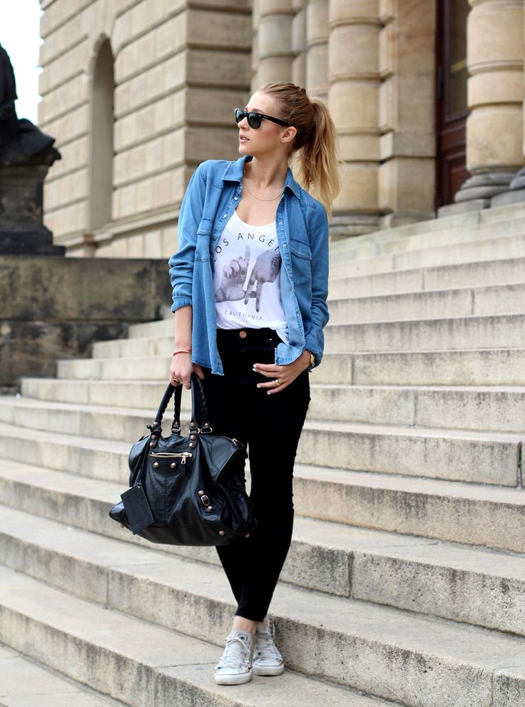 Denim shirt t shirt black jeans casual