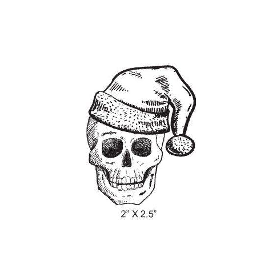 Festive Grinning Santa Skull Rubber Stamp 424 in 2019