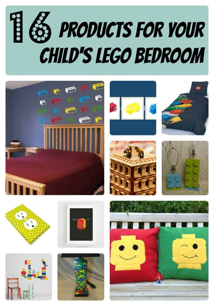 16 Products To Create Your Child's LEGO Bedroom, love the jumbo Lego lamp for $30 and the two Etsy Lego wall prints