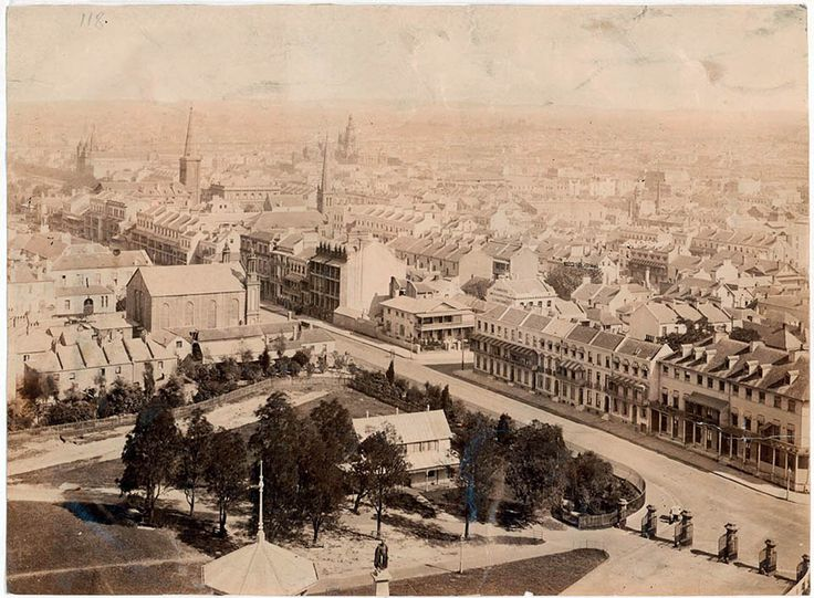 Panoramic view of Macquarie Street and city from the dome of the Garden Palace 1881