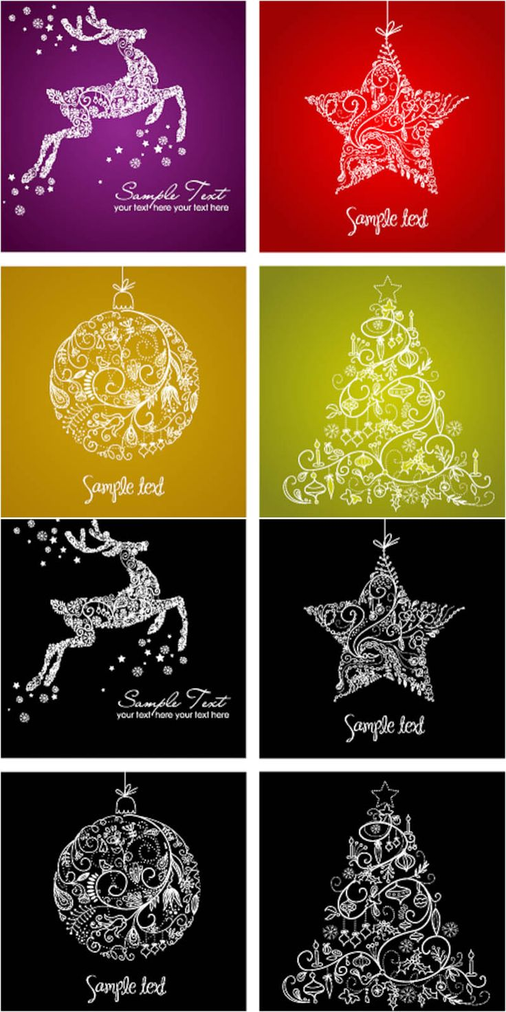 Christmas card set vector free download