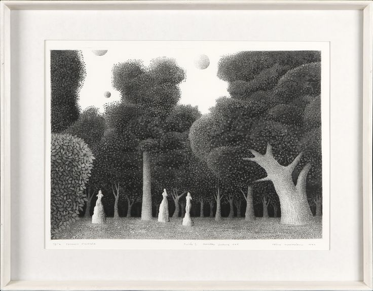 Väinö Rouvinen: Puisto, 1974, 38x51 cm - Hagelstam A125