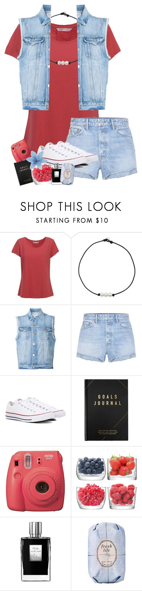 """it's a party in the usa 🇺🇸"" by yasmeen-s ❤ liked on Polyvore featuring Woolrich, Frame, GRLFRND, Converse, kikki.K, Fujifilm, LSA International, Kilian and Fresh"
