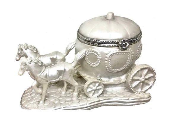 Vintage CINDERELLA COACH Jewelry Box Pearlized Princess