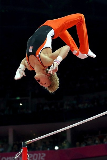 Gold medalist Epke Zonderland of Netherlands competes in the Artistic Gymnastics Men's Horizontal Bar final on Day 11 of the London 2012 Olympic Games at North Greenwich Arena on August 7, 2012 in London, England.