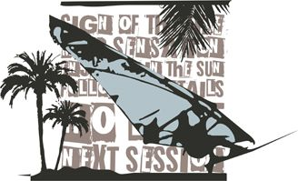 Palm tree and sport vector art is completely and instantly customizable in CorelDraw or Illustrator!
