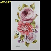 Großhandel Grüne blätter rosa rosen 3d tattoo Flash tattoos frauen arm temporäre tattoo body art sticker sex produkte tatto tatoo(China (Mainland))