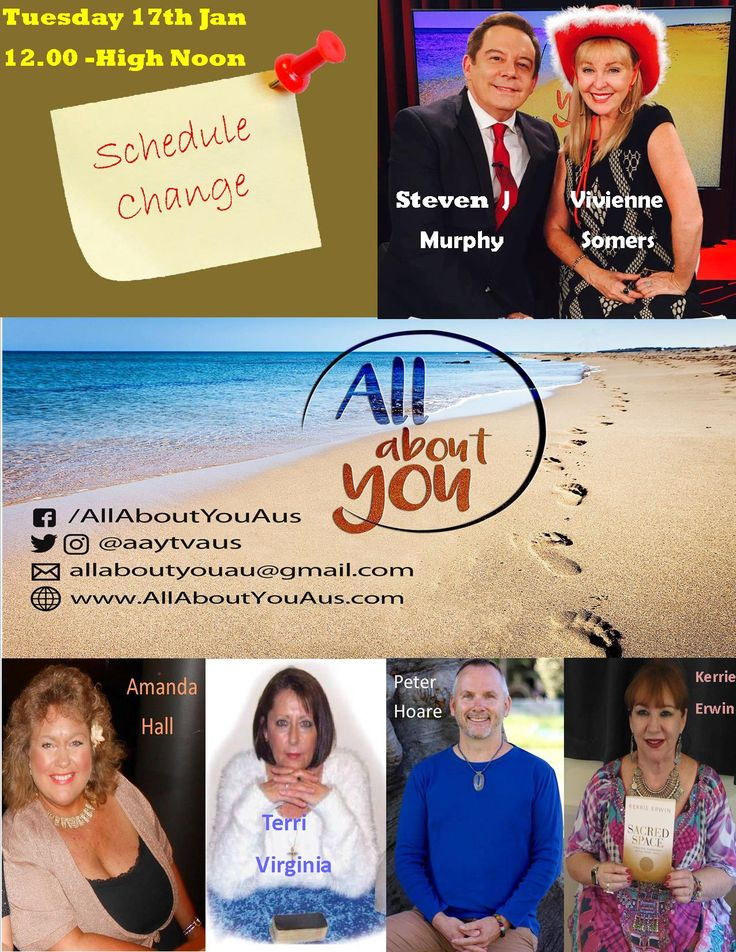 Tune in TUESDAY Jan 17th at 12.00 pm HIGH NOON (Sydney Time) for this week's edition of ALL ABOUT YOU. We welcome back from Summer holidays Steven J Murphy and he will co -host with Vivienne Somers for this weeks show.  Experts in the field come together with a panel discussion on topics that impact you, supporting you to be inspired to trust your intuition and see things differently. Supporting you to be open to more in life. Well known psychics from around Australia will offer free