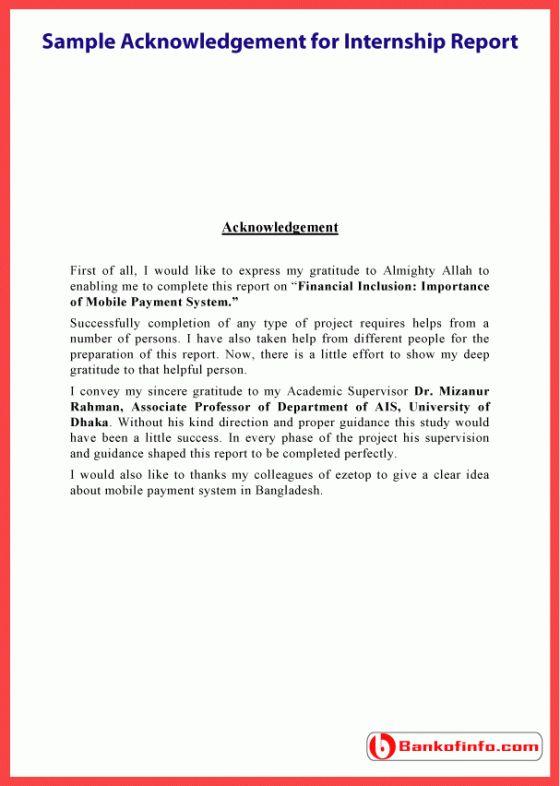 Sample Acknowledgement For Internship Report Psychology