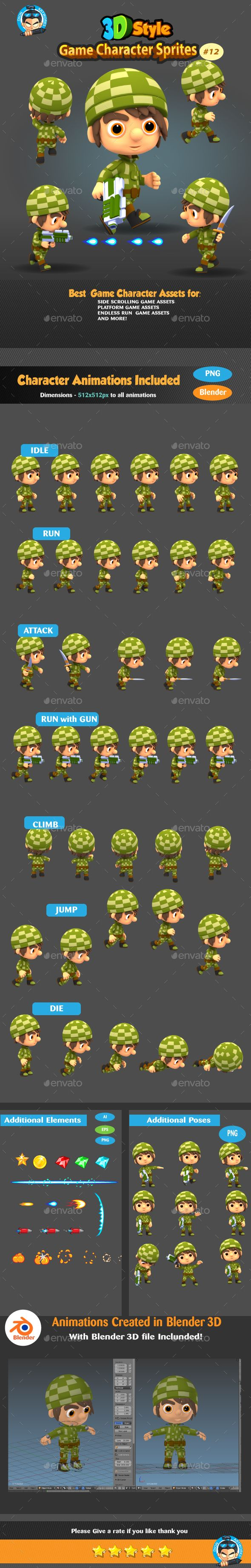 3D Rendered Game Character Sprites Design Template 12 - Sprites Game Assets Design Template Transparent PNG. Download here: https://graphicriver.net/item/3d-rendered-game-character-sprites-12/19332724?ref=yinkira