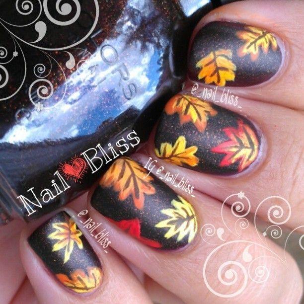 2014 Thanksgiving Matte Leaves Nail Design - Orange  and Red Leaf , Black Polish Art #2014 #thanksgiving