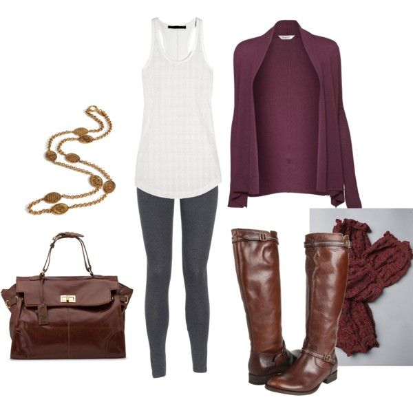 Love the purple sweater, white racerback, gray leggings, & dark brown boots!