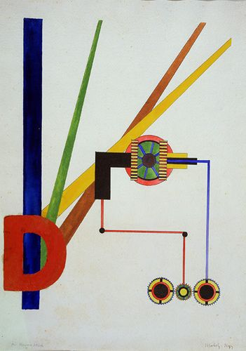 Composition 1921. László Moholy-Nagy (1895-1946) was a Hungarian painter and photographer as well as professor in the Bauhaus school. He was highly influenced by constructivism and a strong advocate of the integration of technology and industry into the arts.
