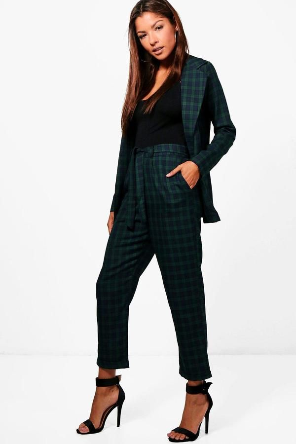 boohoo Joanna Check Woven Belted Trouser