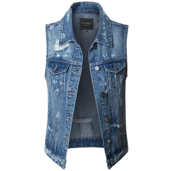 LE3NO Womens Vintage Distressed Ripped Sleeveless Denim Vest ($27) ❤ liked on Polyvore featuring outerwear, vests, denim vest, denim vest jacket, vest waistcoat, blue jean jacket and vintage vest