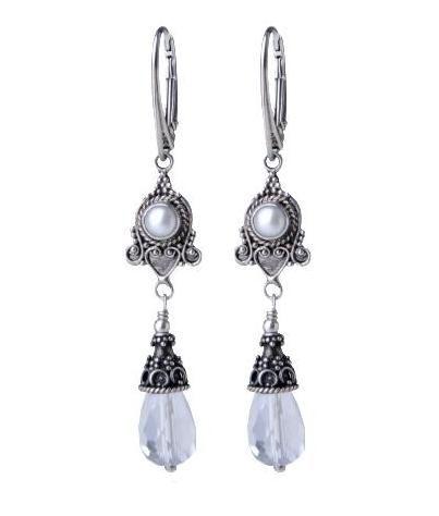 Ślubne #kolczyki ze srebra, z kryształem górskim i perłą. cudosfera.pl