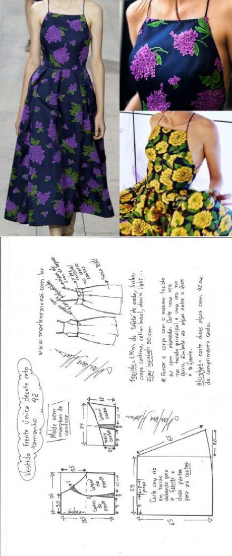 Vestido midi frente única decote reto – DIY – molde, corte e costura – Marlen
