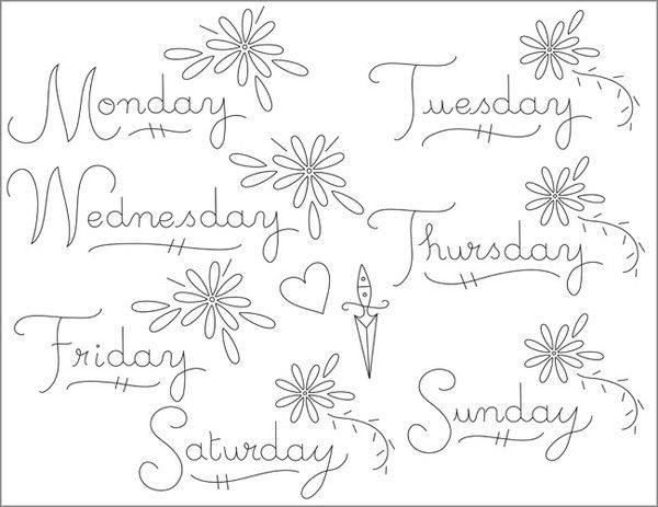days of the week embroidery