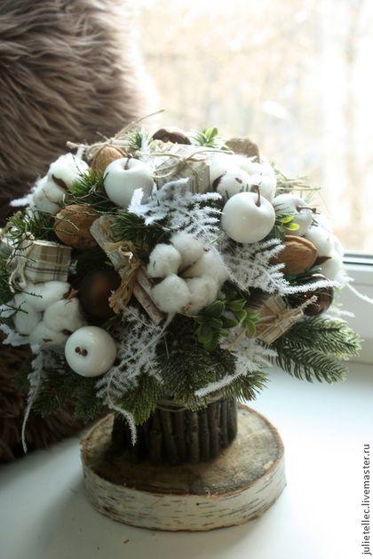 Зимний букет с хлопком - бежевый,зимний букет,новый год,рождество,украшение стола