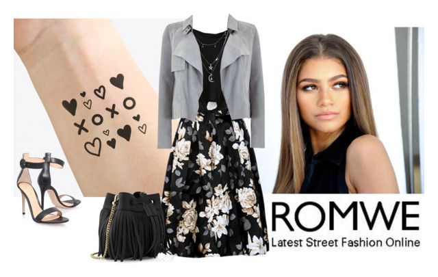 """""""Romwe - Knotted Black Tshirt"""" by aluada-di-angelo ❤ liked on Polyvore featuring NAVUCKO, Charlotte Russe, Mint Velvet, Gianvito Rossi and Whistles"""