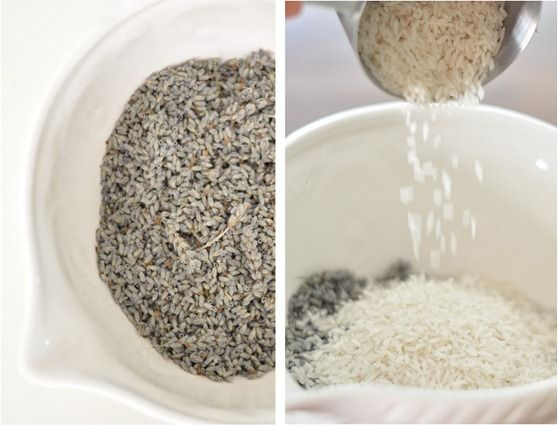 lavender in bowl mix in rice  3-4 oz dried lavender 3 c rice or flax seed sotton or linen cloth 6 by 6.mix lavendaer with cups of rice and lavendar oil